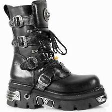NEWROCK New Rock 373 S4 Metallic Boots Black Leather Goth Biker Emo Fashion