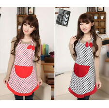 New Cute Home Womens Kitchen Restaurant Bib Cooking Aprons Pockets Bowknot Apron