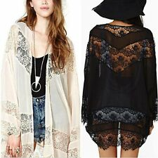 Boho Lace Stitching Chiffon Loose Kimono Cardigan Long Jacket Blouse Shirts Tops