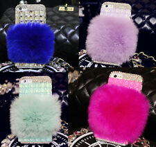 Genuine Rabbit Fur Luxury Diamond Crystal Bling Case Cover For iPhone 6 & 6 Plus