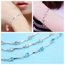 Graceful Jewelry Ladies 925 Sterling Silver Charm Crystal Bamboo Chain Bracelet