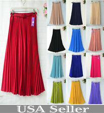 Women Pleated Retro Maxi Long Skirt Elastic Waist Chiffon Dance Dress+free belt