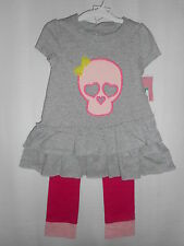 Girls CIRCO Tunic & Leggings Outfit Two-Piece Set Gray Pink Skull Size 2T NWT