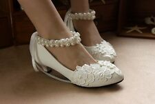 Women's Bridal Shoes bowknot ankle pearl  Wedding Shoes Lace Flower Rhinestone