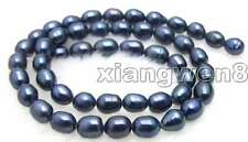 """SALE small 6-7mm Natural Black Freshwater rice Pearl Loose Beads 14""""-los461"""