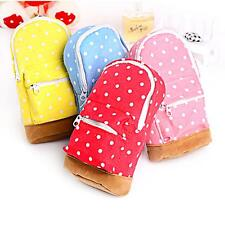 Polka Dots Stationery Pencil Case Bag Cosmetic Makeup Storage Soft Canvas Pouch