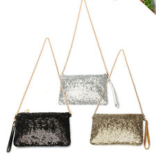 Party Evening Dazzling Spangle Sequins Wallet Purse Clutch Bag Chain Handbag NEW