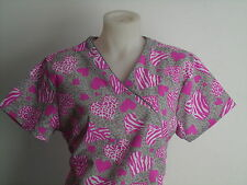 XS S M L XL 2XL ANIMAL PRINT ZEBRA CHEETAH GRAY WHITE PINK MOCKWRAP SCRUB TOP