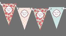 Vintage Roses Personalised Shabby Chic Garden Tea Party Bunting