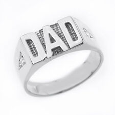 """Father's Day Sterling Silver Diamond """"DAD"""" Men's Ring"""