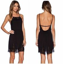 Free People Lace Insert Swing Slip Dress URBAN OUTFITTERS in Black NWT $88