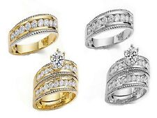 10K SOLID YELLOW/WHITE GOLD HIS & HER TRIO CROWN CZ WEDDING BAND SET SIZE 5 -13