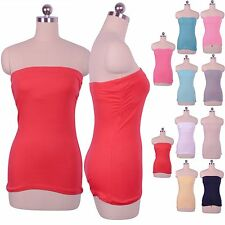Casual Solid Plain Strapless Sexy Tube Stretch Built in Bra Tunic Beach Top