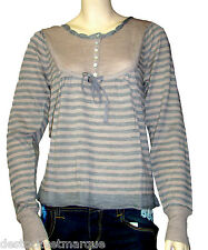 Pull fantaisie rayures femme gris beige lainage So and Co