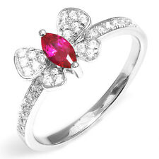 Butterfly UNIQUE Pigeon Blood Red Ruby Ring 925 Sterling Silver Size 6 7 8 9