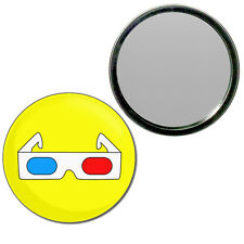 3D Glasses - Round Compact Glass Mirror 55mm/77mm BadgeBeast