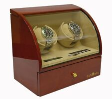 Pangaea D230 Double Automatic Dual Watch Winder Box with Storage Brown