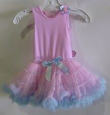 Popatu Dress Pink, Lavender with colorful fluffy skirt, Sizes 2T/3T