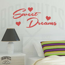 Sweet Dreams Wall Art Sticker quote with Hearts, Bedroom Vinyl Wall Stickers