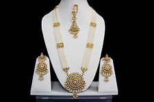 Indian Long Rani Haar Bridal Wedding Gold Plated Jewelry Necklace Earrings Sets