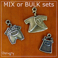 Bronze Baby Clothes charms ~MIX/BULK~ romper pinafore jacket shower invitation