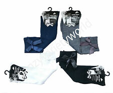 4 Pairs of Girls Knee High Girls School Socks With Bow children kids All Size