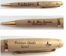 PERSONALISED FOREVER STARTS HERE PEN, WEDDING PRESENT GUEST BOOK SIGNING FAVOUR