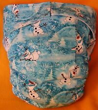 AIO (All In One) Adult Baby Reusable Cloth Diaper S,M,L,XL Olaf Luvs Snowflakes