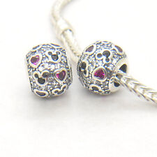 New Authentic Genuine S925 Silver SPARKLING MICKEY AND HEARTS CHARM Bead