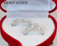 Luxury 3 Stone Ring Set Engagement Ring Wedding Diamond Ring Made in italy D G