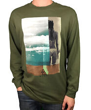 """REEF. Olive Green. """"Lifes Short Go Surfing"""" Mens Long Sleeve T-Shirt. Size L, XX"""