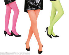 Ladies Neon Tights Pink Orange Green Festival Neon Party Fancy Dress