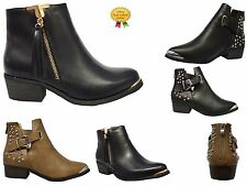 NEW LADIES WOMENS ZIP UP ANKLE CUT OUT STUDDED PLAIN  ANKLE LOW HEEL BOOTS SIZE