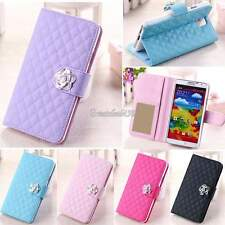 Luxury Fashion Grid Wallet Card Stand Flip PU Leather Cover Case for Samsung GT5