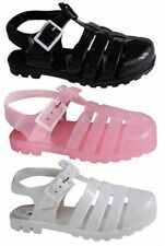 Girls Plain Summer Beach Jelly Gladiator Strap Sandals Shoes White,Pink,Black