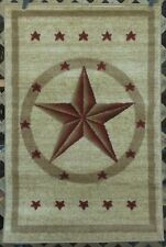 NEW! 6X8, 3X7 or 3X4 Cream Red Tan Texas Star Country Western Lodge Area Rugs