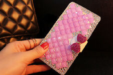 Pink Bowknot Bling Diamond Leather Case Cover For Iphone 6 6 Plus 5 5S 5C 4 4S