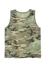 VINTAGE Woodland Camo Tank Top PT t-shirt Work Out US Army Marines USMC S-2X