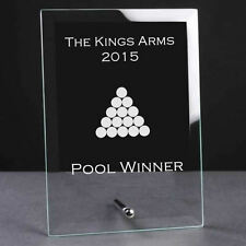 Personalised Engraved Glass Plaque Trophy Award - Pool Sports Club