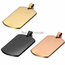 Polished Stainless Steel Army Military Name Dog Tag Pendant Men's Necklace