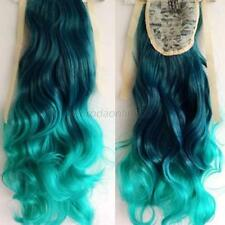 Fashion Women Long Wavy Curly Synthetic Dip Dye Clip In Ponytail Hair Extension