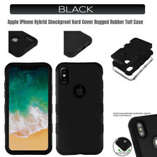 Apple iPhone BLACK Hybrid Shockproof Hard Cover Rugged Rubber Tuff Case