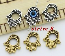 50/300pcs Tibet Silver two-sided Hamsa Hand Kabbalah Luck Charms Pendant 14x13mm