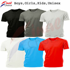 Kids Girls Boys Unisex Plain Blank Printable T-Shirt School Uniform PE Tops Gym