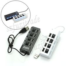 High Speed 4 Port USB 2.0 Slim Compact Multi Hub Expansion Smart Splitter New