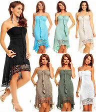 Bandeau Summer dress Mullet Knitted dress with Crochet lace
