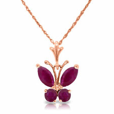 Genuine Red Ruby Gems Butterfly Pendant Necklace 14K. Yellow, White or Rose Gold