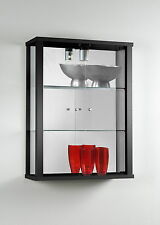 Wall Mounted Glass Display Cabinet 2 Doors Black or White