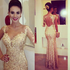 2015 Beaded Long Evening Party Prom Gown Backless Cocktail Bridesmaid Dress 6-16