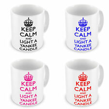 Keep Calm And Light A Yankee Candle Black, Blue, Pink & Red Novelty Gift Mugs